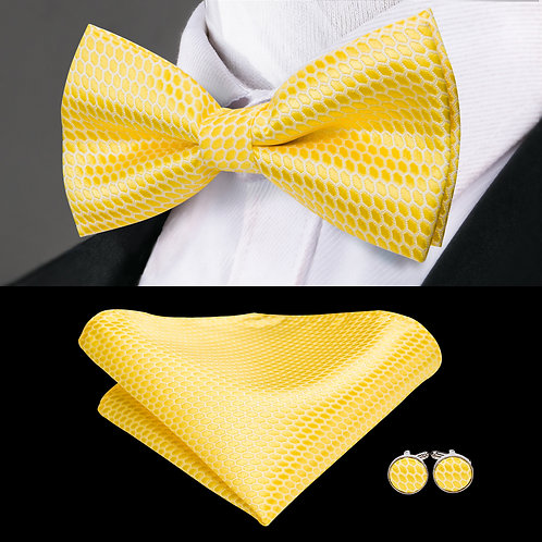 Pineapple Yellow Silk Bow Tie Set w/Cufflinks and Hankie