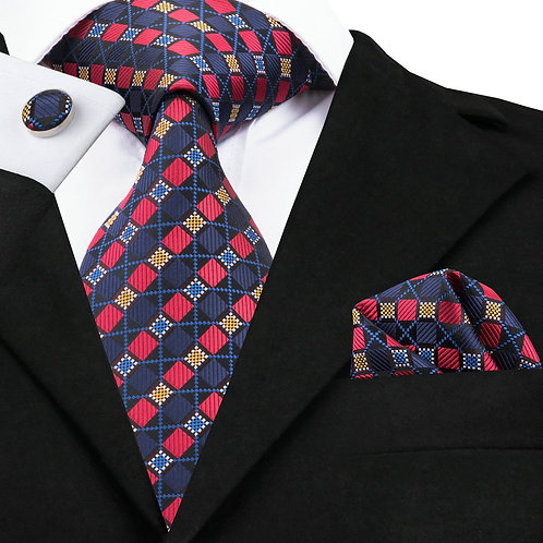Blue and Red Checked Silk Tie Set w/Cufflinks and Hankie