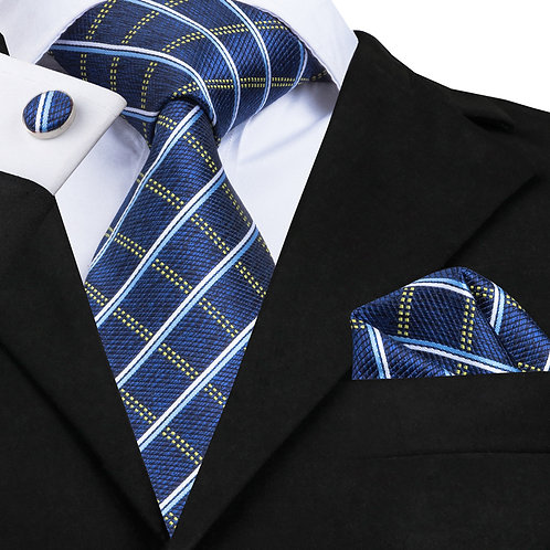 Traditional Blue and White Check w/Cufflinks and Hankie