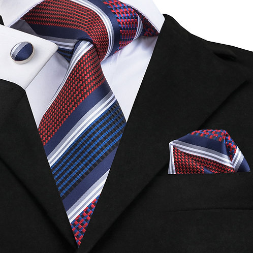 USA Red, White and Blue Stripe Silk Tie Set