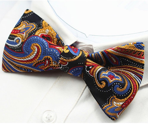 Self - Tie:  Multi-colored Paisley Print Self-Tie Bow Tie