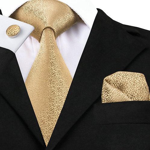 Classy Gold Silk Tie Set w/Cufflinks and Hankie