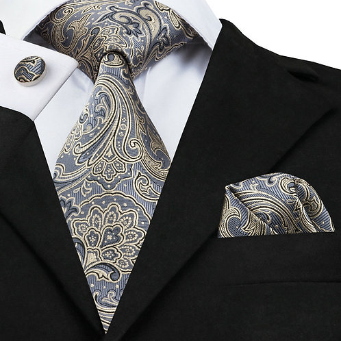 Steel Gray and Yellow Paisley Print Tie Set w/Cufflinks and Hankie