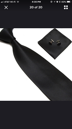 Black Silk Tie Set w/Cufflinks and Hankie