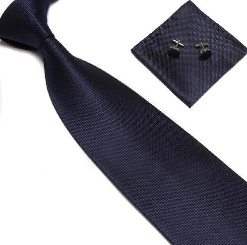 Navy Blue Silk Tie Set w/Cufflinks and Hankie
