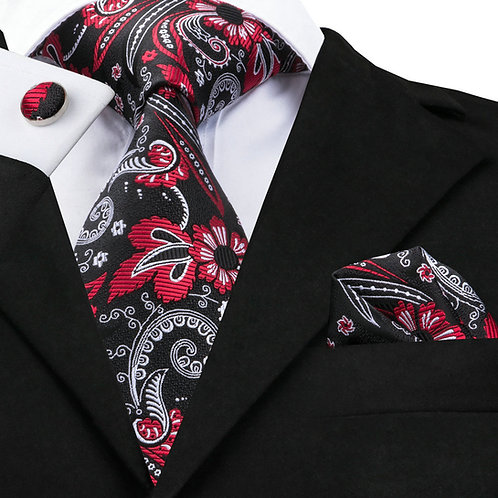 Red, Black and White Paisley Print Tie Set w/Cufflinks and Hankie