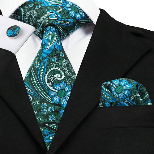 Teal Blue and Green Paisley Print Tie Set  w/Cufflinks and Hankie