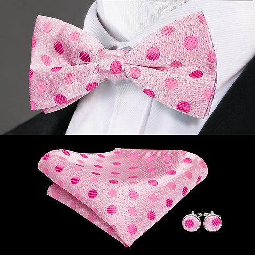 Pink Polka Dot Silk Bow Tie Set w/Cufflinks and Hankie