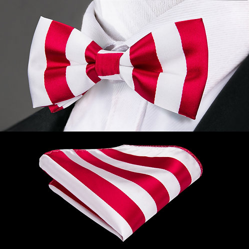 Red and White Striped Silk Bow Tie Set w/Cufflinks and Hankie