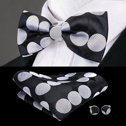 Black w/Silver Dots Silk Bow Tie Set w/Cufflinks and Hankie