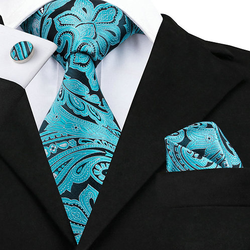 Teal and Black Paisley Print Silk Tie Set w/Cufflinks and Hankie
