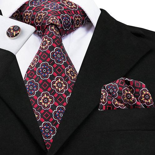 Red Multi Print Silk Tie Set w/Cufflinks and Hankie