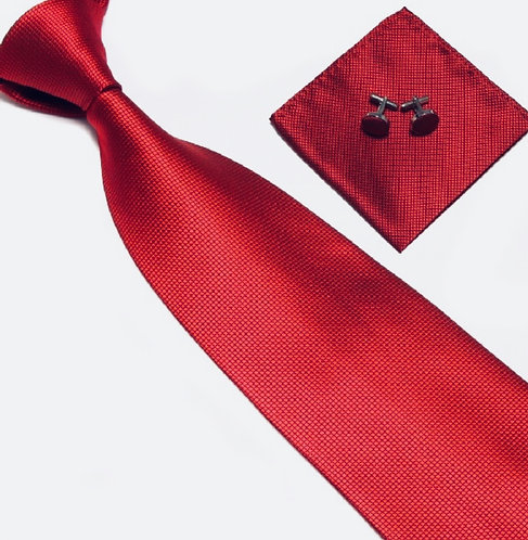Wine Red Silk Tie Set w/Cufflinks and Hankie