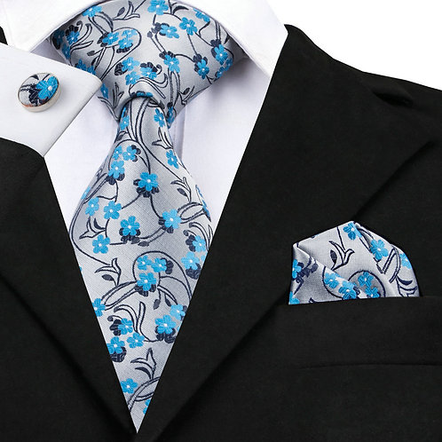 Silver with Teal Blue Flowers w/Cufflinks and Hankie
