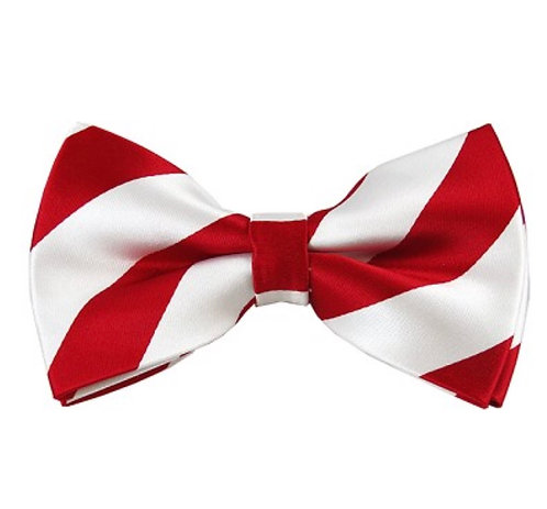 Self-Tie: Red and White Striped Self-Tie Bow Tie Set w/Hankie