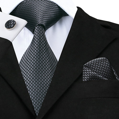 Steel Grey Silk Tie Set w/Cufflinks and Hankie