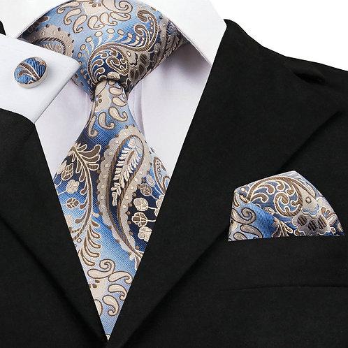 Blue and Tan Paisley Print Silk Tie Set w/Cufflinks and Hankie
