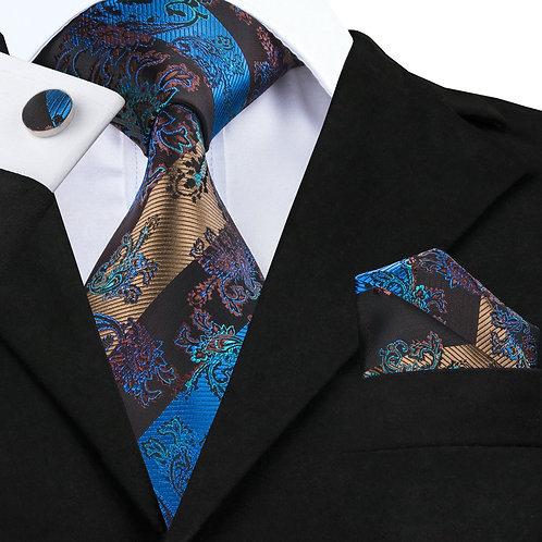 Classy Purple and Blue Print Silk Tie Set w/Cufflinks and Hankie