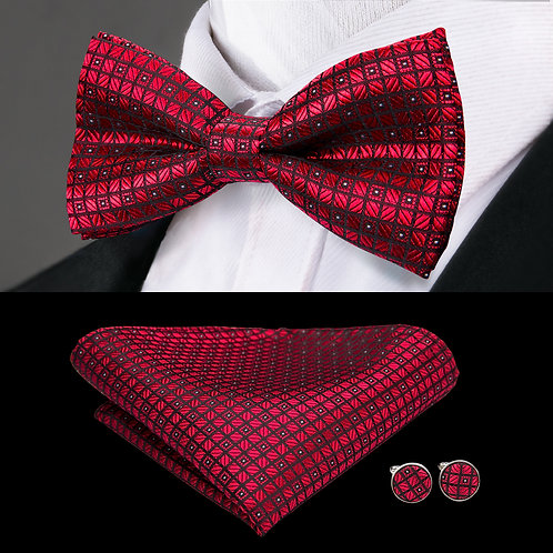 Wine Red Checked Pattern Silk Bow Tie Set w/Cufflinks and Hankie