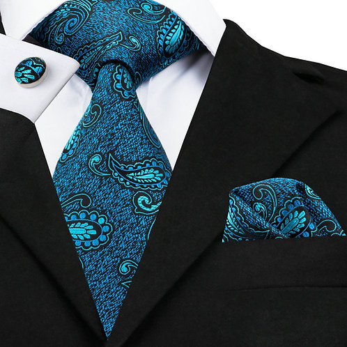 Teal Blue Paisley Print Silk Neck Tie Set w/Cufflinks and Hankie