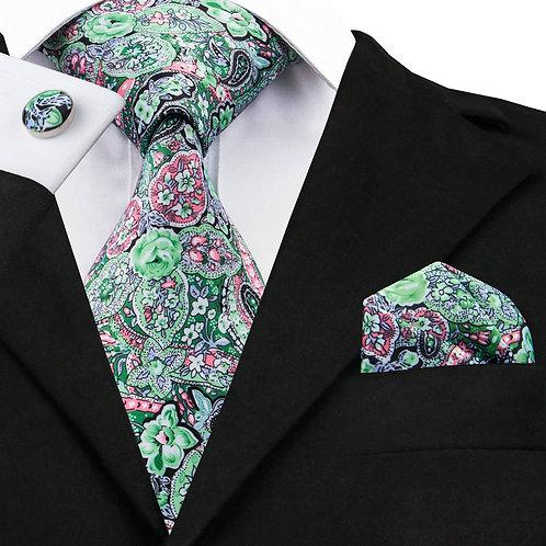 Jacquard Mint Green Floral Silk Tie Set w/Cufflinks and Hankie