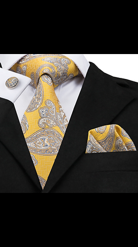 Gold and Silver Paisley Print Silk Tie Set w/Cufflinks and Hankie