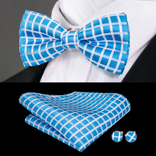 Sky Blue and White Checked Silk Bow Tie Set w/Cufflinks and Hankie