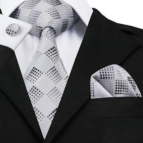 Silver and Grey Checked Silk Tie Set