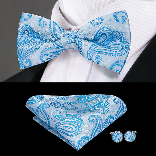 Sky Blue and Silver Paisley Print Silk Bow Tie Set w/Cufflinks and Hankie