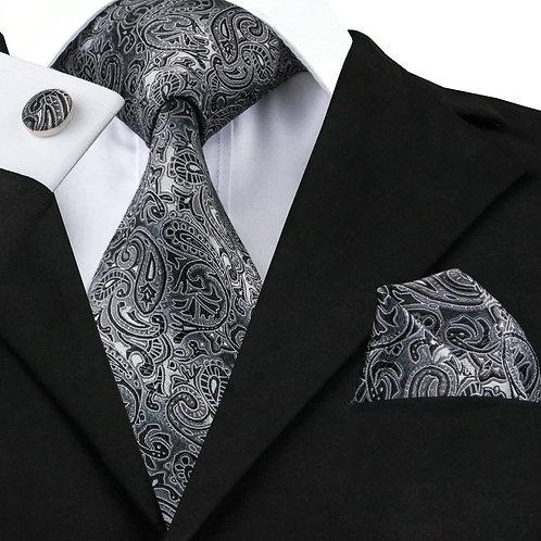 Black and Grey Silk Tie Set w/Cufflinks and Hankie