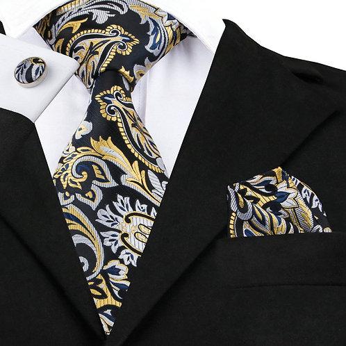 Black and Gold Paisley Silk Tie Set w/Cufflinks and Hankie