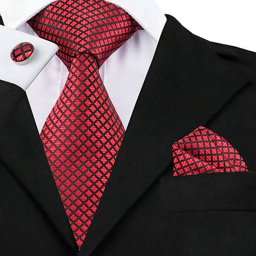Red and Black Checked Silk Tie Set w/Cufflinks and Hankie