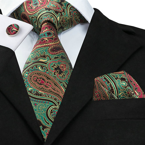 Mint Green Paisley Silk Tie Set w/Cufflinks and Hankie