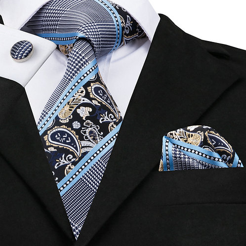 Dark Blue Paisley Print Tie Set w/Cufflinks and Hankie