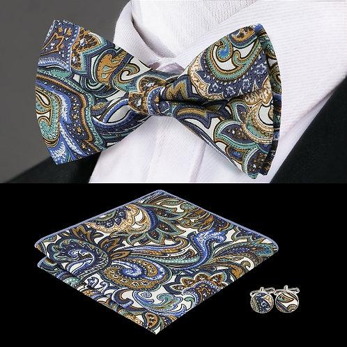 Sea Blue Paisley Print Bow Tie Set w/Hankie and Cufflinks