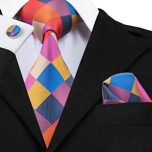 Elegant Vogue Multi-Color Plaid Silk Tie Set w/Cufflinks and Hankie