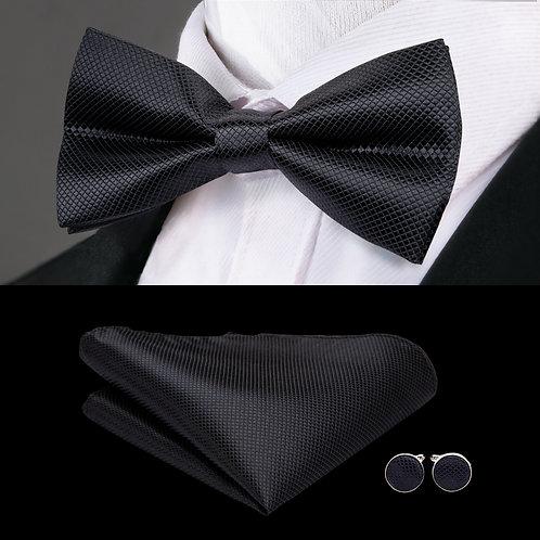 Midnight Black Silk Bow Tie Set w/Cufflinks and Hankie