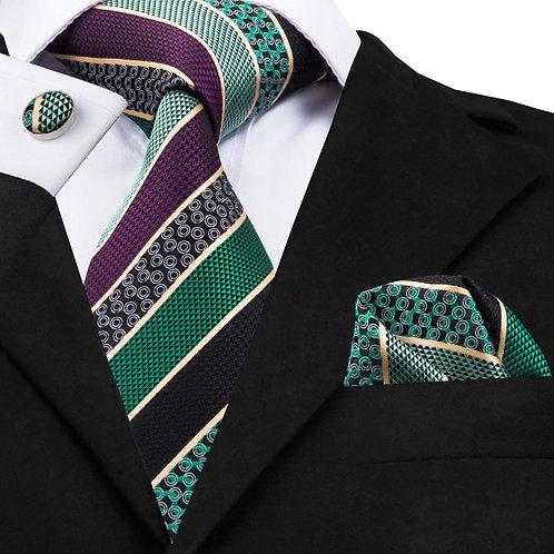 Green and Maroon Stripe Silk Tie Set w/Cufflinks and Hankie