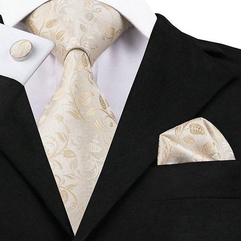 Cream Paisley Print Silk Tie Set w/Cufflinks and Hankie