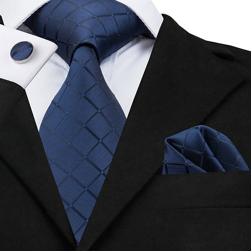 Sophisticated Blue Woven Silk Tie Set w/Cufflinks and Hankie
