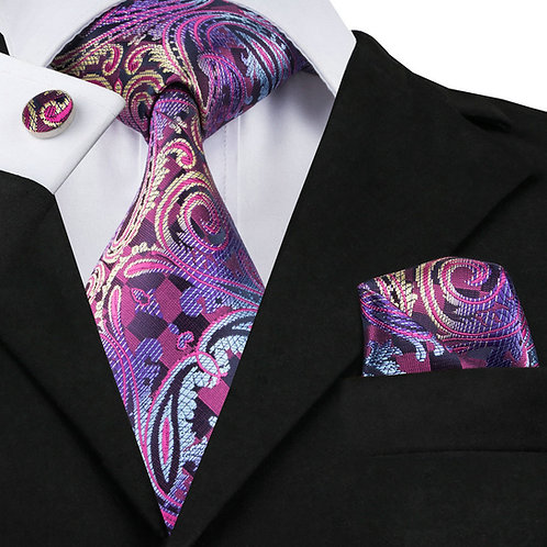 Purple Multi-Color Print Silk Tie Set w/Cufflinks and Hankie