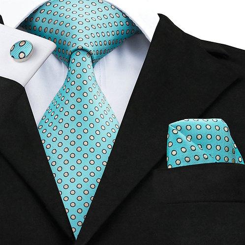 Teal Blue Silk Tie Set w/Cufflinks and Hankies