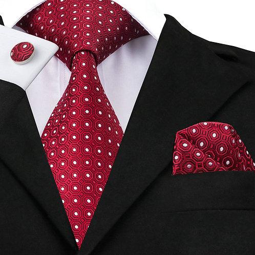 Wine Red w/White Dot Silk Tie Set w/Cufflinks and Hankie