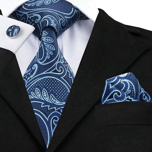 Navy Blue Paisley Print Silk Tie Set w/Cufflinks and Hankie