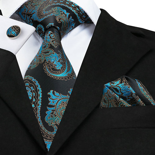 Black and Teal Paisley Print Necktie Set w/Cufflinks and Hankie
