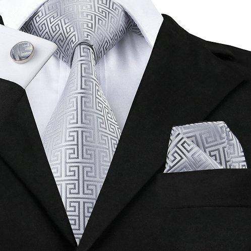 Stylish Vogue Pattern Silver Silk Tie Set w/Cufflinks and Hankie