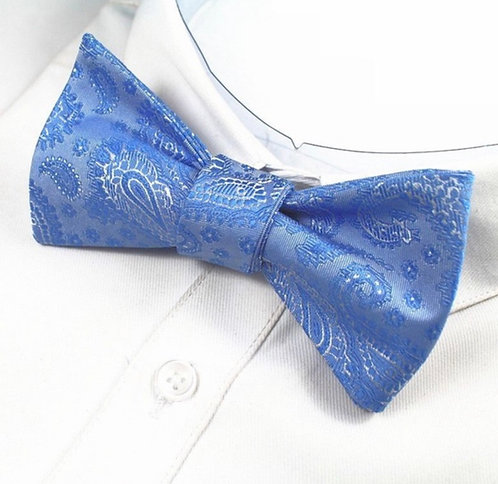Self - Tie: Sky Blue Paisley Print Self Tie Bow Tie