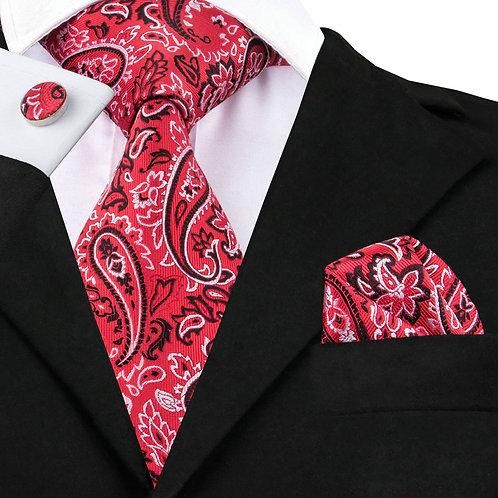Red Paisley Print Silk Tie Set w/Cufflinks and Hankie