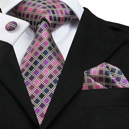 Purple Checked Silk Tie Set w/Cufflinks and Hankie