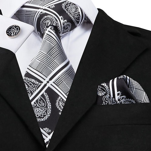 Black and White Plaid and Paisley Silk Tie Set w/Cufflinks and Hankie